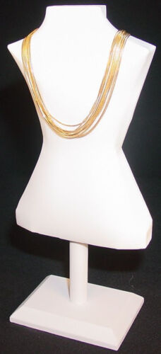 """14.5""""H  WHITE LEATHERETTE JEWELRY DISPLAY BUST NECKLACE CHAIN PENDANTS JA54W1"""