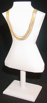 14.5 H Body Shape White Leather Jewelry Display Bust Stand Necklace Chain Ja54