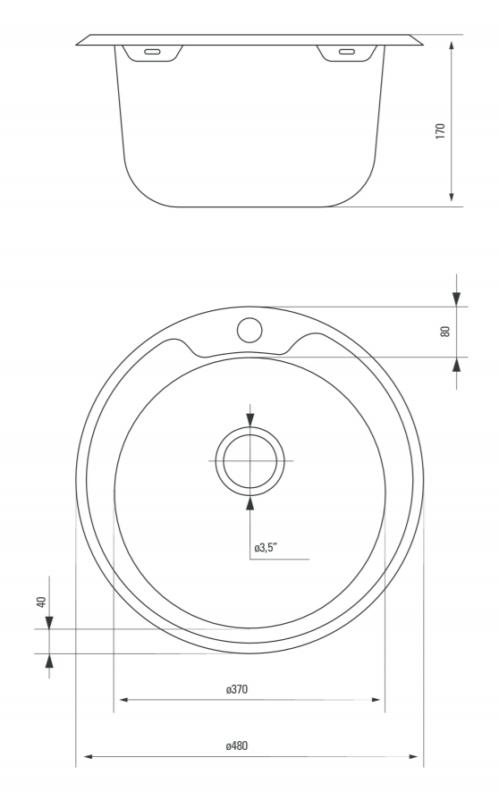Edelstahl Küchenspüle Rund püle 48 cm Einbauspüle Spüle + Zub. Spülbecken Küche