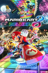 MARIO KART 8 DELUXE 24x36 POSTER NEW FUN GAMING GAMER WEE NINTENDO SWITCH LUIGI!
