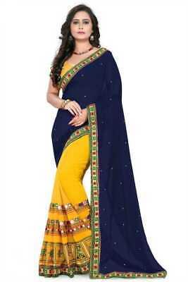 Navy Blue and Yellow Georgette Wedding Saree Ethnic Indian Pakistani Sari](Navy And Yellow Wedding)