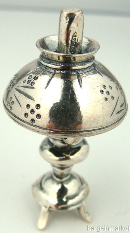 Miniature Sterling Silver Vintage Style Oil Lamp #056