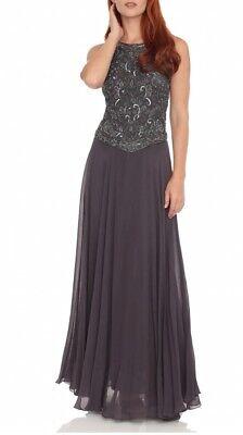 NEW J Laxmi Women's 10 Slate Color Sleeveless Beaded Chiffon Dress w/ Scarf $250 for sale  Midvale