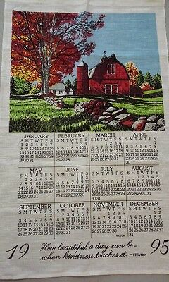 linen calendar '95 How beautiful a day..... by George Elliston 90s kitchen linen