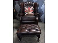Immaculate Chesterfield Queen Anne Wing Back Chair & Stool - Uk Delivery