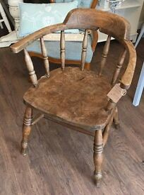 Vintage Solid Beechwood Captain Chair