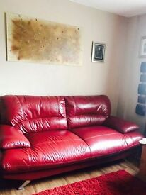 Red Leather 3&2 Seater with Footstool