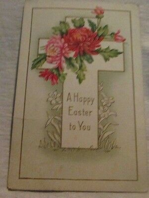 vintage antique easter post card postcard  a cross with fowers die-cut