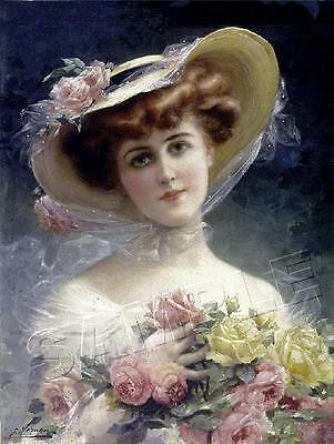 VICTORIAN Lady CHIC Shabby ROSE Emile Vernon *CANVAS* Giclee Art Print ~ LARGE