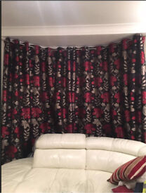 Black And Red Floral Curtains From Montgomery