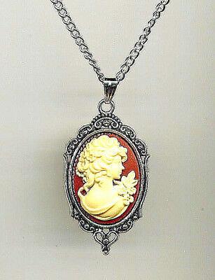 VICTORIAN Lady Cameo Ivory Carnelian Antique Silver Necklace *Sterling 925 Chain