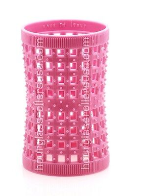 (Large Pink 42mm /1.65in Pack of 12 - Hourglass Rollers All Hair Types Unisex)
