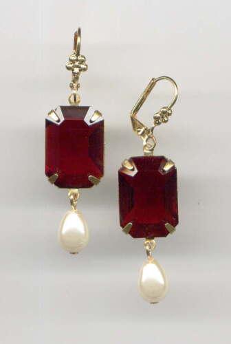 GARNET red emerald-cut crystal Pearl Drop EARRINGS 14K Gold gp Lever *Vtg Czech