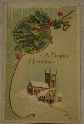 vintage antique christmas post card postcard die-cut church on hill  Worecester