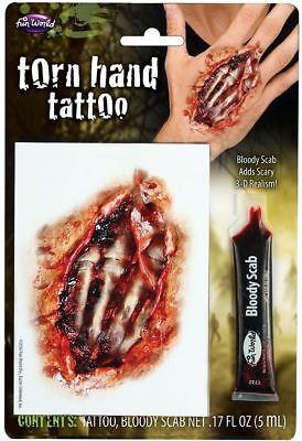 New Halloween Torn Hand Wound Cut Scar Tattoo Horror Zombie Make Up Fancy Dress ()
