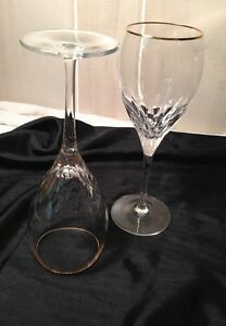 Lenox crystal stemware gold rim 2 goblets wine glass ebay - Lenox gold rimmed wine glasses ...