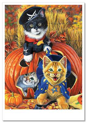 Jenny Halloween (Jenny Newland ART Cat & Kitten, Halloween. Modern rare postcard. new.)