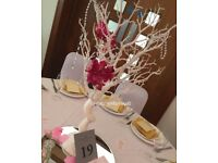 Wedding centrepiece fishbowls, martini glass, crystal tree, chandelier, candleabra and many more