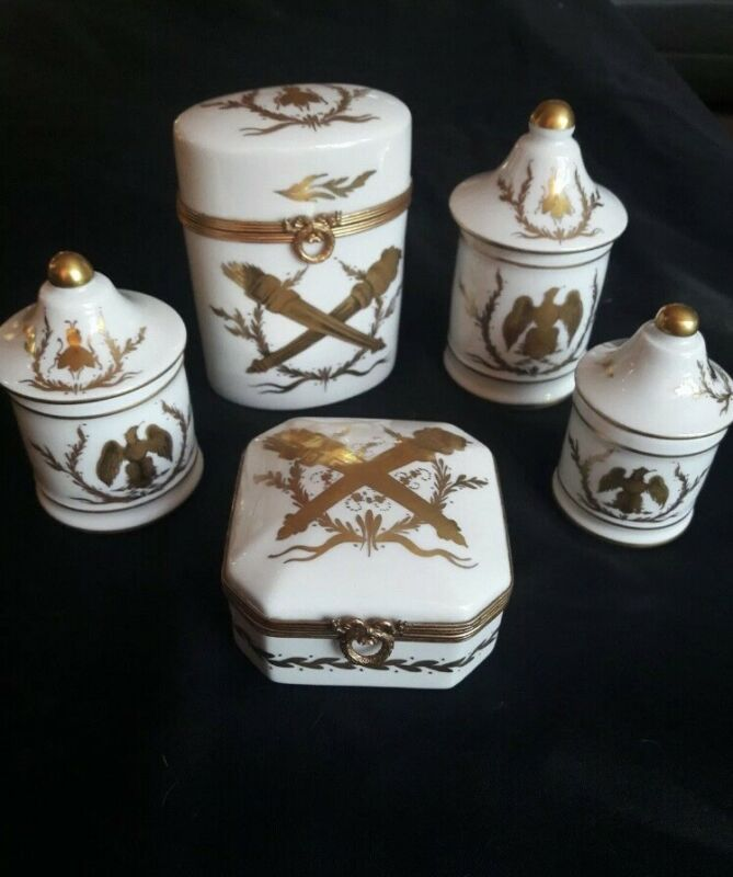 Napoleon III style Gilt Porcelain & Brass Toiletries Set