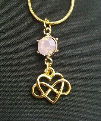 Gold Tone and pink Celtic Infinity Heart necklace 16 3/4 inch snake covid 19 (Gold Tone Snake Necklace coronavirus)