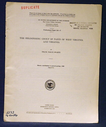 USGS HELDERBERG LIMESTONE of VIRGINIA and WEST VIRGINIA Great Fossil Photos 1929