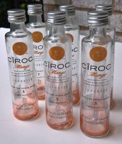 12 EMPTY CIROC Mango Flavored Vodka 50ml Glass Mini Liquor Bottles Full Dozen