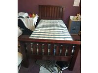 Single wooden bed frame dark brown excellent condition easy assemble