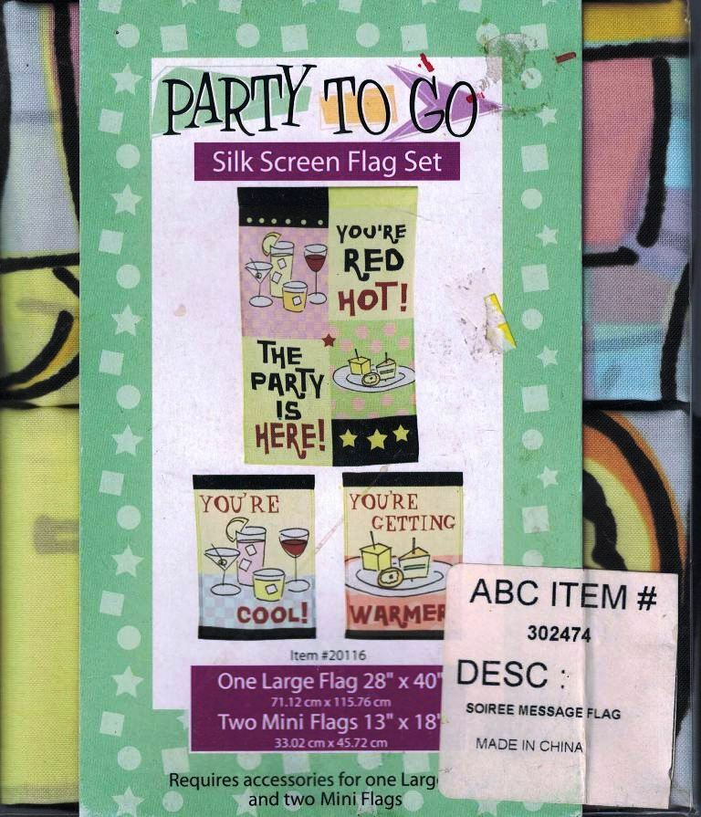 Party To Go Party Flags 1 Large 2 Small Silk Screened Flags The Party s Here  - $9.89