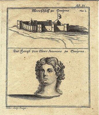 Antique engraving, Smirna & Meerschloss zu Smyrna plate 31