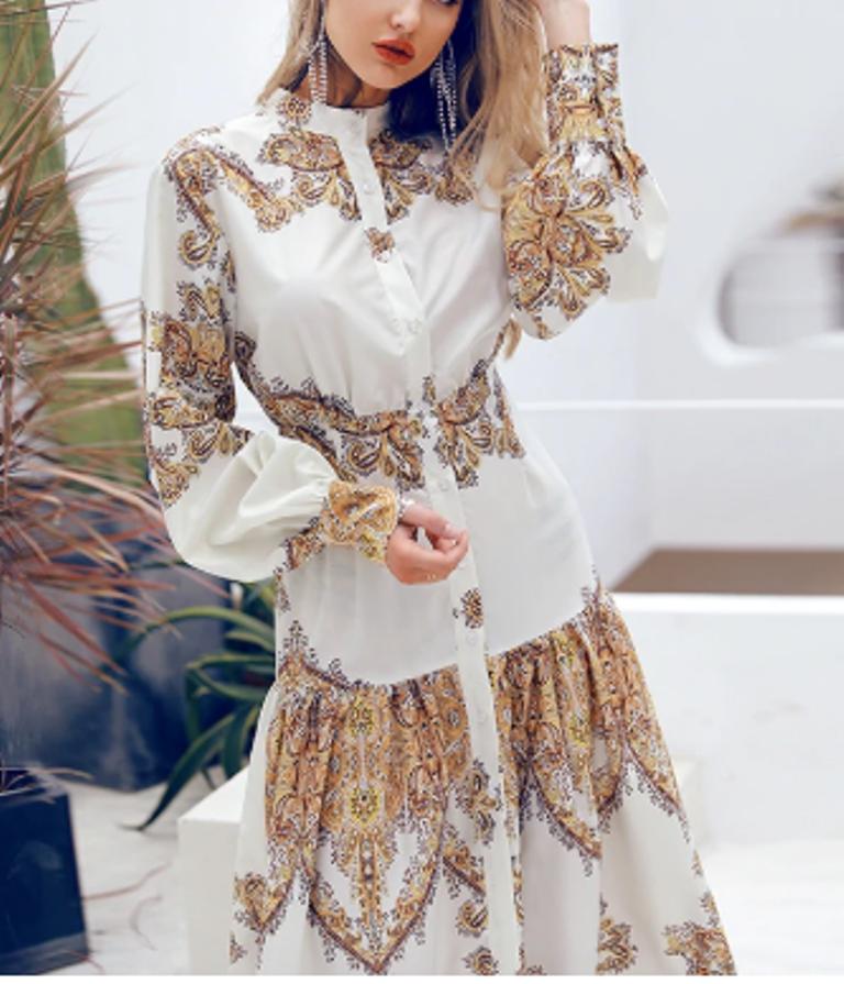 Damen Kleid Sommerkleid Freizeitkleid Abendkleid Rankenmuster lang Stehkragen