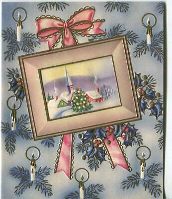 VINTAGE CHRISTMAS VICTORIAN TREE CANDLES PINK BLUE VILLAGE CHURCH GREETING CARD
