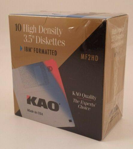"NEW SEALED KAO Kao MF2HD 3.5"" High Density Floppy Diskettes 1.44mb Pack of 10"