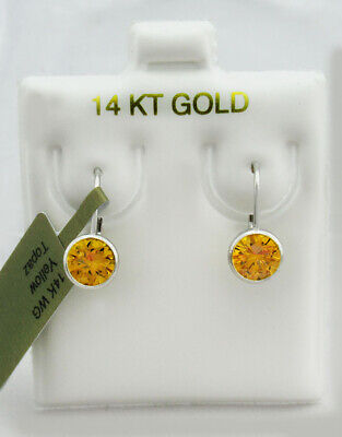 YELLOW TOPAZ 1.12 Cts  DANGLING EARRINGS 14K WHITE GOLD * New With Tag *