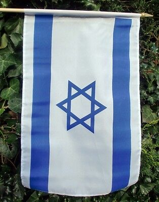 """ISRAEL LARGE HAND WAVING FLAG 18"""" X 12"""" WITH 24"""" POLE flags JEWISH STAR OF DAVID"""