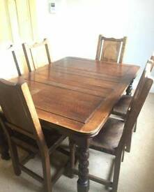 Oak draw-leaf table and chairs