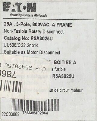 Eaton Cutler Hammer R5a3025u 3 Pole 25 Amp 600 Vac Rotary Disconnect Switch