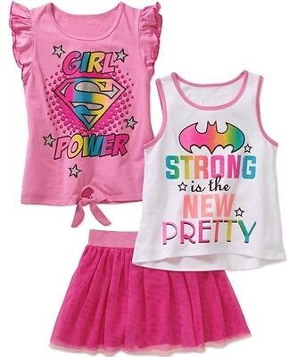 3 Piece Scooter - DC Comics Girls' 3 Piece Set with Tulle Scooter Skirt Sz 4/5