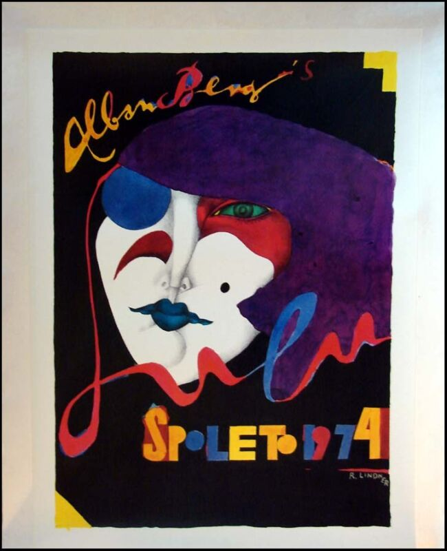 Vintage Spoleto 1974 Lithograph Poster R. Lindner On Linen, Submit An Offer!