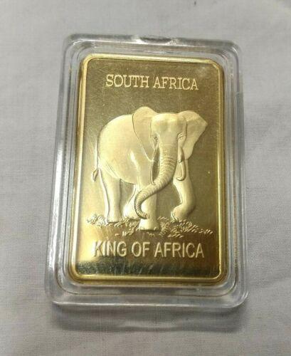 THE ELEPHANT KING OF AFRICA SUID AFRIKA KRUGERRAND - 1OZ 0.999 GOLD LAYERED BAR