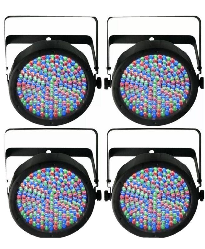 (4) CHAUVET SLIMPAR64 SLIM PAR CAN 64 RGB PRO DJ DMX LIGHTS SLIMPAR W/DMX Cables
