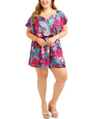 - Terra & Sky Ruffle Sleeve Romper Hawaiian Floral Striped Casual Shorts Outfit