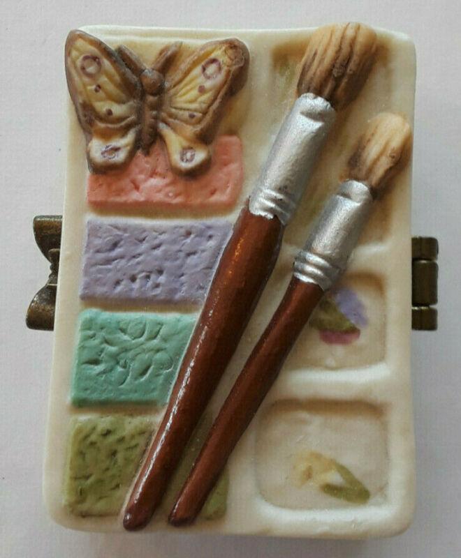Vintage Marjolein Bastin Trinket Box Paintbrush Butterfly Nature Art Caring Joy