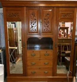 Antique satinwood large wardrobe
