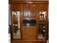Antique satinwood large wardrobe