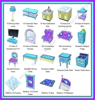 Webkinz 10 Year Anniversary Theme Complete Set 2015 *Online Items*