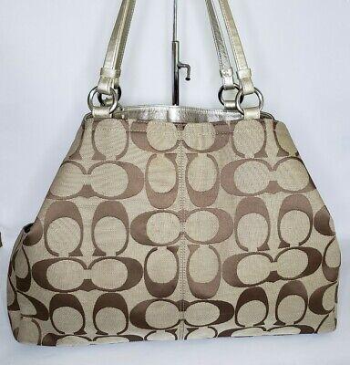 Coach Brown Tan Signature Carryall Tote Handbag Purse- Large Signature Tan Tote Handbag