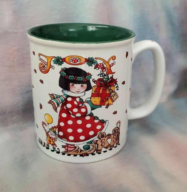 Mary Engelbreit JOY Christmas Mug, cute girl with gifts, EUC
