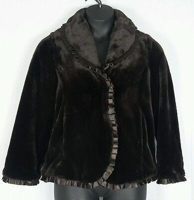 Fur Ruffle - DENNIS BASSO CHOCOLATE BROWN FAUX FUR SATIN RUFFLE TRIM COAT SZ XS - NWOT