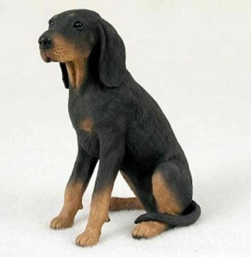 COONHOUND BLACK & TAN  DOG Figurine Statue Hand Painted Resin