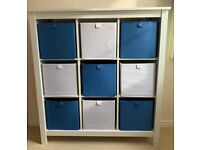 Ikea Hemnes 9 Box Storage Unit with Boxes